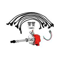 A-Team Performance HEI Distributor Red Cap with Black Spark Plug Wires Set & Pig