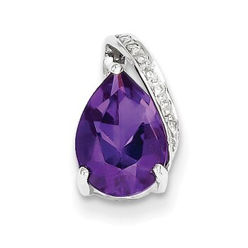 Primary image for Lex & Lu Sterling Silver w/Rhodium Pear Amethyst Pendant