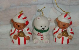 Jasco L'il Chimer Xmas Bear Bell Handpainted Bisque Porcelain Ornaments ... - $9.89