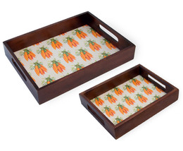 Set/2 Spring/Summer Nested Wood Serving Carrot Trays with Handles 9''-12''L - €33,63 EUR