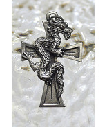 COOL Celtic Dragon Cross energy guidance from inside sterling silver jew... - $29.68