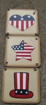 2013-Hat Star and Heart Plaque Wood Sign  - $2.95