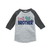 Custom Party Shop Boy's Little Brother Happy Valentine's Day 4T Grey Raglan - $20.58
