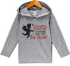 Custom Party Shop Big Sister Pregnancy Reveal Valentine's Day Hoodie 5T Grey - $22.05