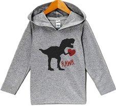 Custom Party Shop Baby's Dinosaur Valentine's Day Hoodie 24 Months Grey - $22.05