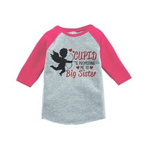 Custom Party Shop Girl's Big Sister To Be Valentine's 3T Pink Raglan - $20.58
