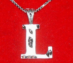 COOL Sterling Silver Pendant Charm Initial Letter L Diamond - $19.31