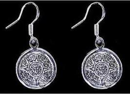 COOL Mayan Calendar Survive 2012 Sun Real Sterling silver Maya Charm ear... - $669,38 MXN