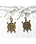 COOL Mayan Tribal Tribe 24kt Gold plated turtle earrings - $43.25