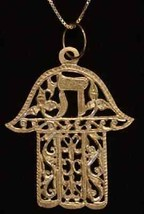 COOL Jewish Hand Chai 24kt Gold Plated Pendant Charm Jewelry - $48.98