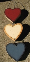 231 - 3 Hearts Wood Sign - $2.95