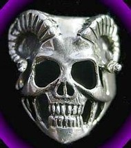 COOL Skeleton Skull Horn Ring GOTHIC Sterling Silver Jewelry - $48.98