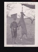 Deer Hunter with Hanging Buck 1940 Snapshot Upstate NY Lewis Ellis - $23.90