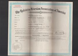Holstein Friesian Association of America Certificate of Registry 1940s L... - $18.20
