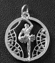 COOL Showgirl Ballet Dancer Sterling Silver Pendant Charm - $24.09