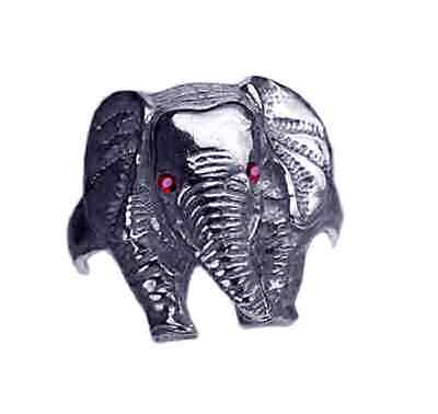 COOL New Sterling silver 925 Elephant Ring Jewelry Ruby eyes