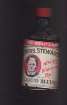 Mrs Stewart's Liquid Bluing Vintage Bottle 1940s - $16.00