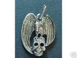 COOL Sterling Silver Vulture on Skull  Pendant Charm Pirate - $35.57