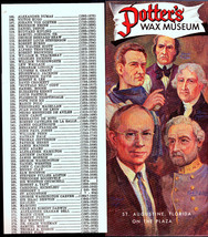 Potter's Wax Museum Brochure St Augustine Fl Lou Gehrig Babe Ruth Pope P... - $11.03