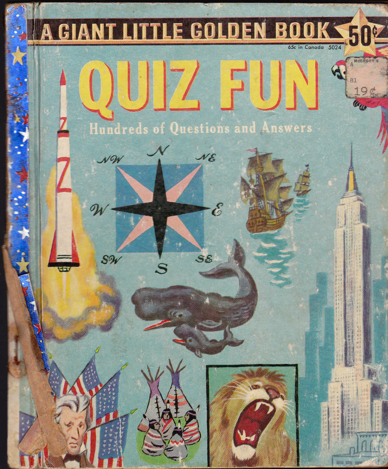 Quiz Fun Giant Little Golden Book Tibor Gergely 1st Print 100s of Questions