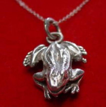 Cool Solid Detailed Frog Silver Pendant Charm Toad - $28.89