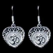 COOL New Sterling Silver Hindu Love Om Heart Aum Earrings - $31.75