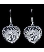 COOL New Sterling Silver Hindu Love Om Heart Aum Earrings - $31.75