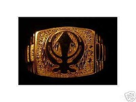 COOL Gold Plated RING Sikh Khanda Sword GURU NA... - $42.43