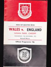 Wales v England Programme- World Cup Qualifying Match- Nov 15 1972 - $12.00