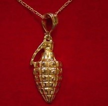 COOL Silver 925 Army Grenade Gold Plated War Pendant CHARM - $48.98