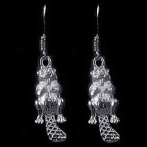 COOL New Sterling Silver Wildlife Beaver Earrings Jewelry - $35.57