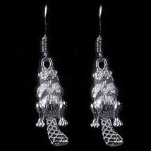 COOL New Sterling Silver Wildlife Beaver Earrings Jewelry - $35.57