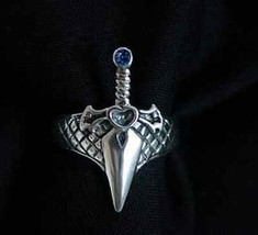 COOL Celtic Sword Dagger Sterling Silver 925 Sapphire stone Ring Wicca G... - $37.62