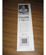1954 Print Ad Canadian National Railways Hunter & Moose with Big Rack - $6.57