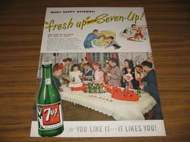 1947 Vintage Ad 7 UP Soda Pop Birthday Party Kids Drink Bottles of Seven Up - $12.08