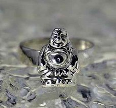 COOL Buddha Buddah Sterling silver ring Jewelry good luck - $29.68