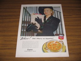 1947 Print Ad Campbells Vegetable Soup Happy Lady with Bag of Groceries - $12.02