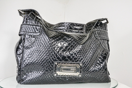 Large Black Guess Hobo Bag With Silver Logo Reptile Print Super Clean - $14.99