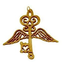 COOL Guardian Angel wings Heaven Key 24kt gold plated charm - $73.06