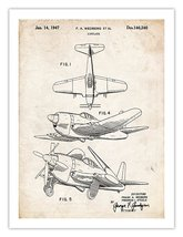 MILITARY AIRPLANE DESIGN PRINT 1947 PATENT ART RETRO PRINT WEDBERG AIRCR... - $19.95