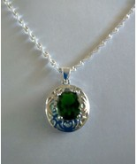 "Emerald 1"" Pendant set in Sterling Silver w 925 Sterling Silver Chain RE... - $14.99"