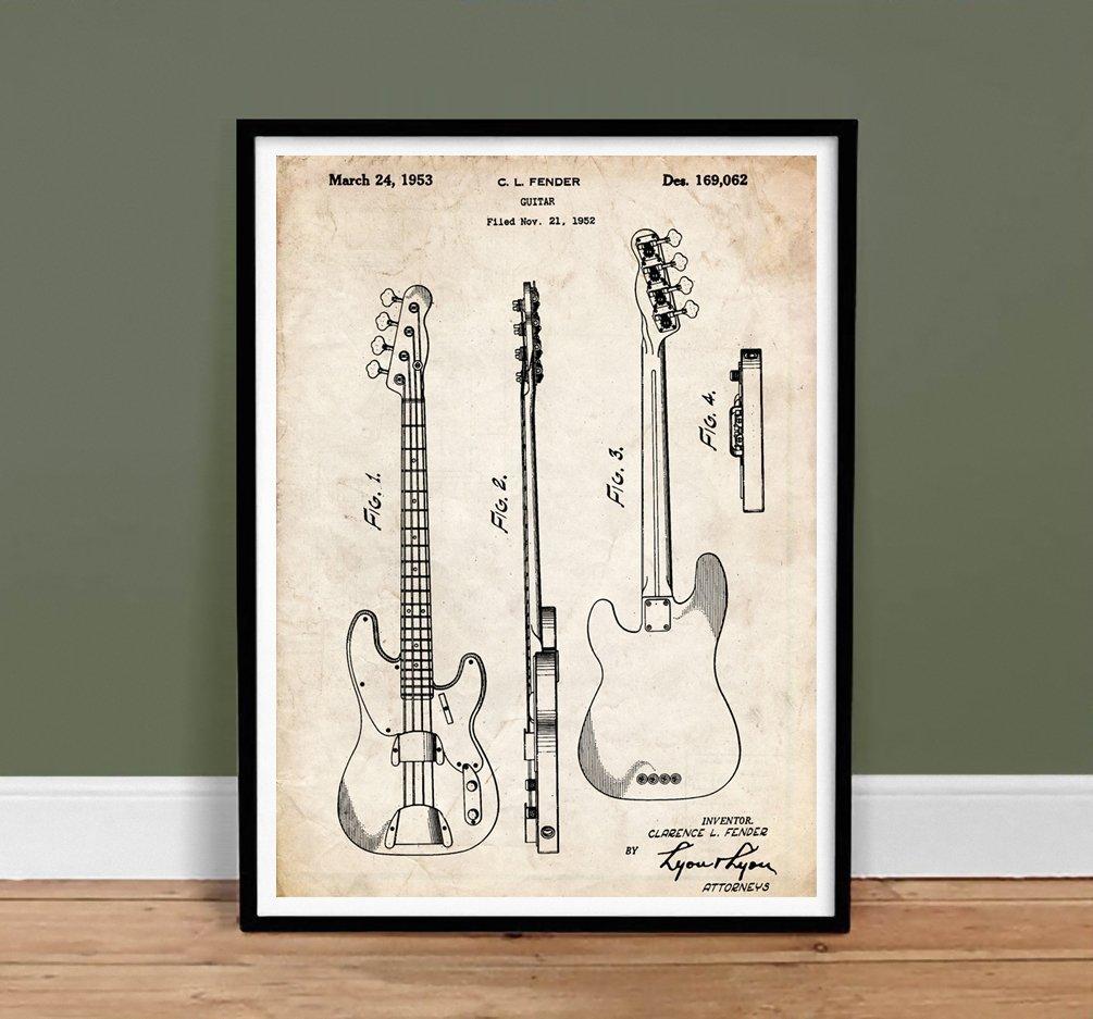 1960 FENDER Precision Electric Bass Guitar PATENT U.S A4 Printed Repro Art