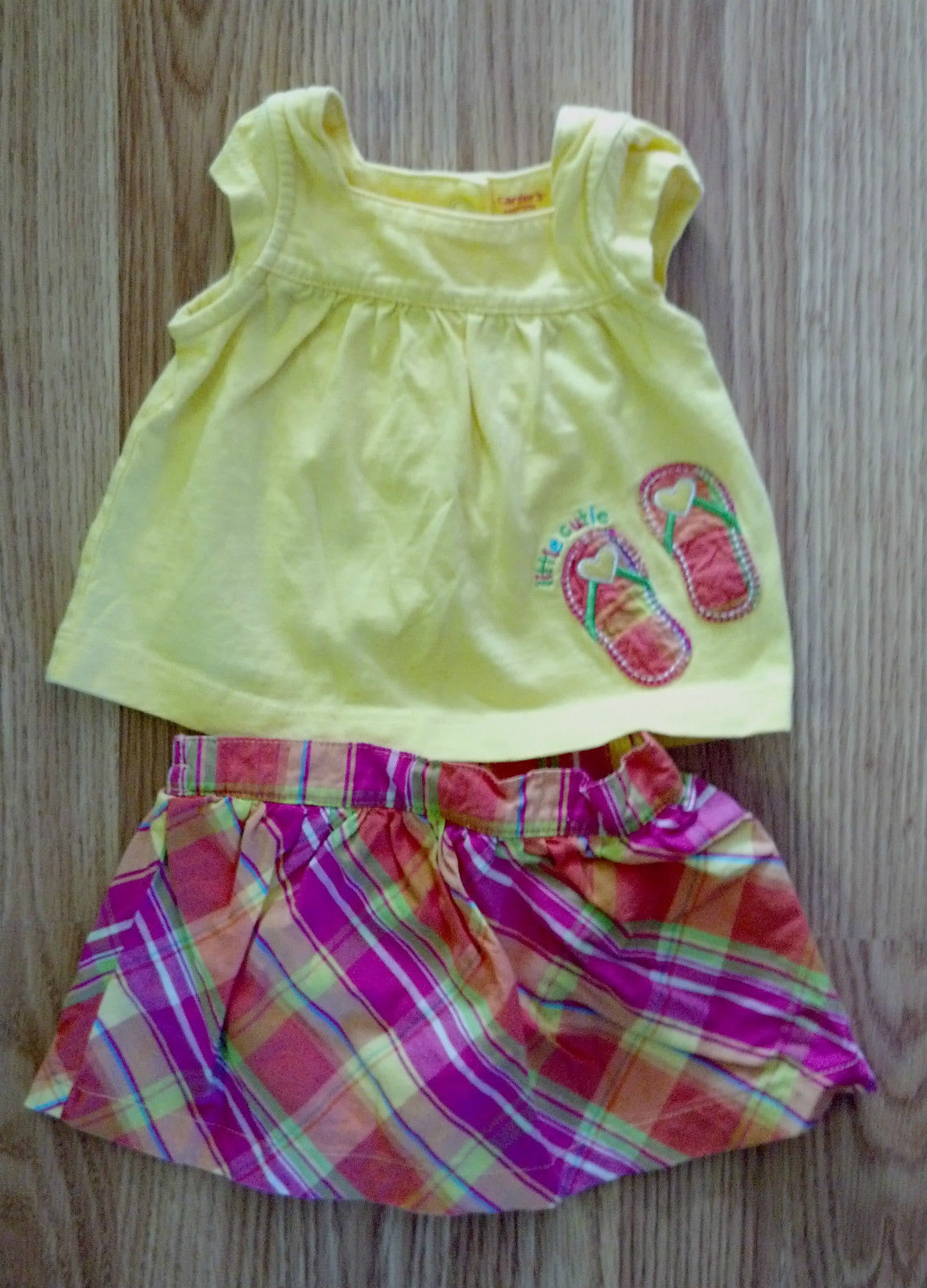 NWOT Girl's Size 3 M Months Carter's Flip Flops Embroidered Top & Skirt Outfit