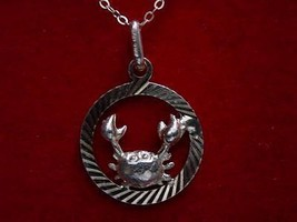 COOL Cancer Pendant Charm Zodiac astrology crab Wicca genuine sterling silver je - $18.35