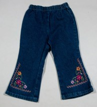 SPARKLE GIRLS SIZE 2T DENIM BLUE JEANS PINK DAISY FLOWER FLORAL ACCENTS - $9.89