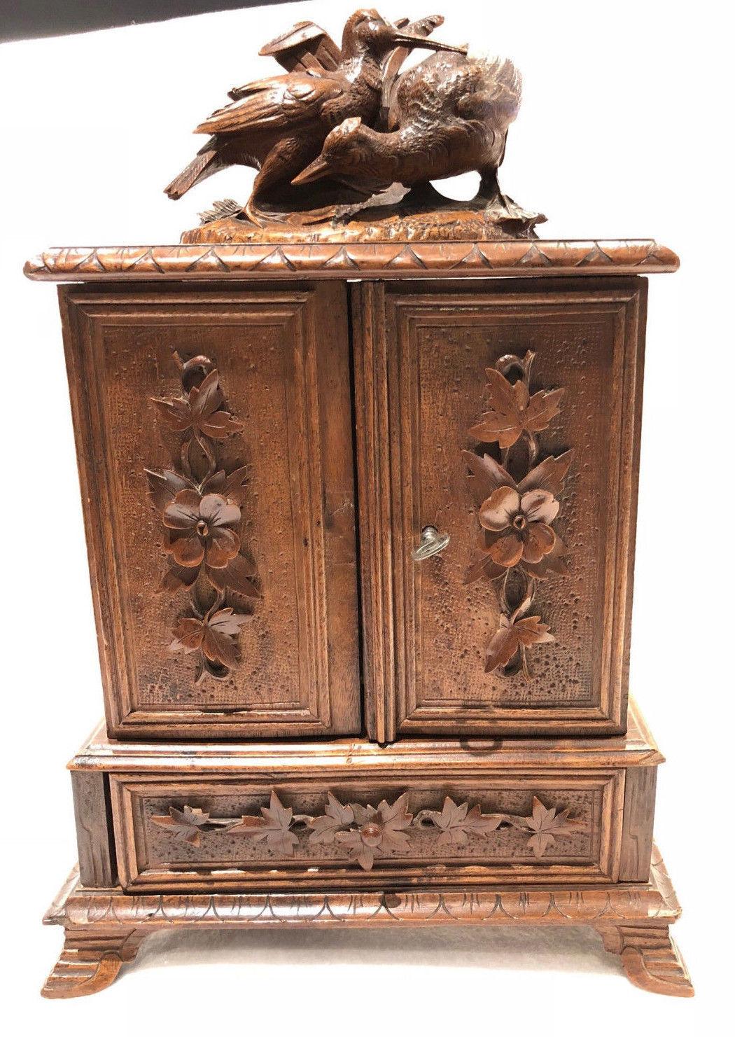 Antique Black Forest Desk Cigar Cabinet, Chest, Box, Presentation Server  Birds - Antique Black Forest Desk Cigar Cabinet, And 50 Similar Items
