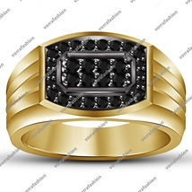 Black Sim Diamond Solid Sterling Silver Yellow Gold Plated Engagement Ba... - $87.99