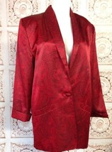 Evan Picone Red Black Paisley Satin Long Jacket... - $30.61
