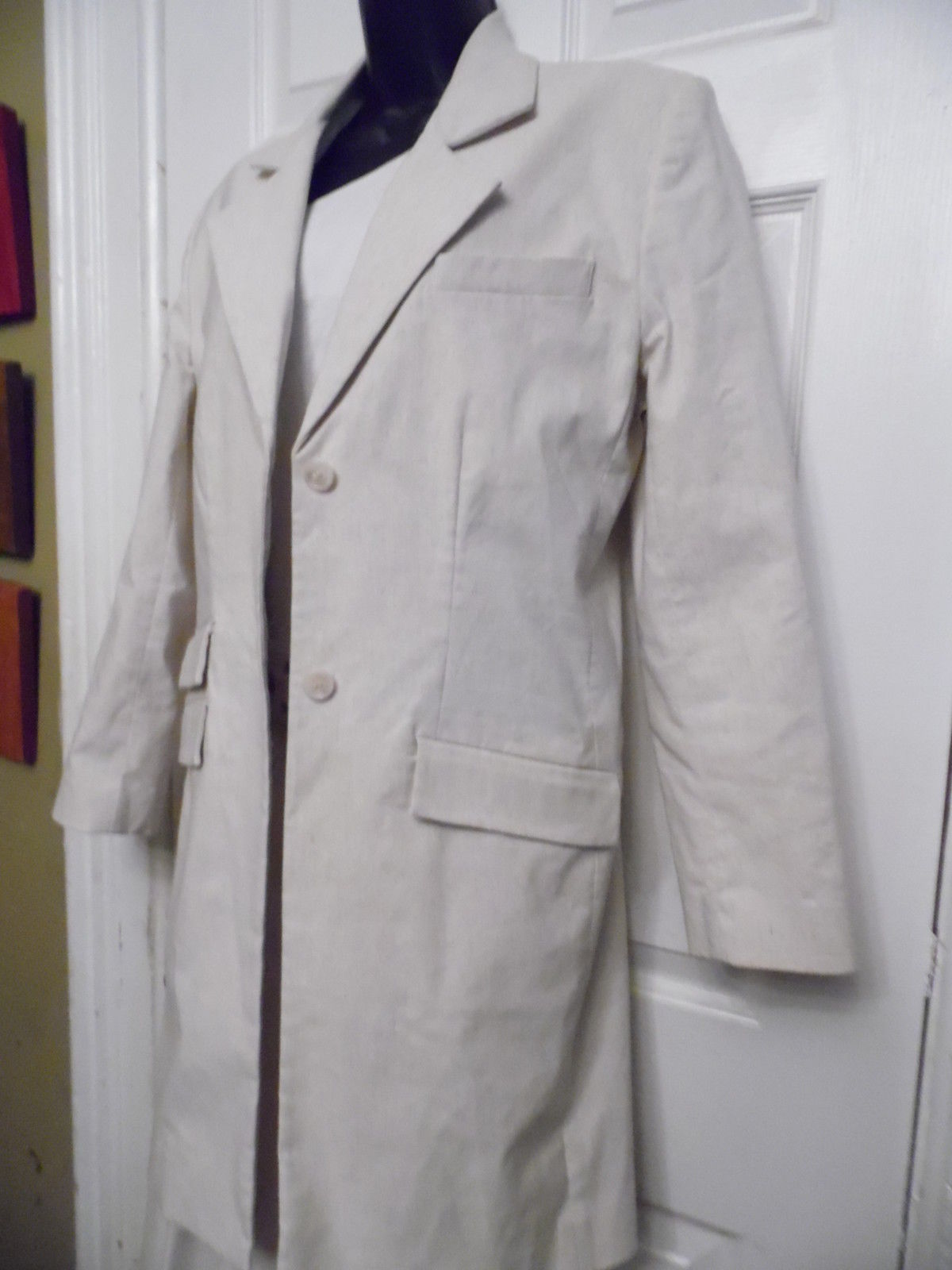 Women's Clothing Focus 2000 By Charles Glueck Size 8 Pant Suit Beige Tan Linen