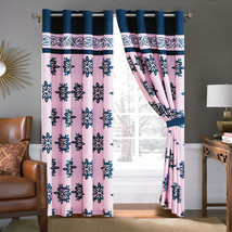 4-Pc Prisca Floral Leaves Scroll Vine Damask Curtain Set Pink Navy Blue ... - $40.89